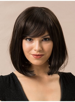 Medium Bob Human Straight Hair Blend Wigs 12 Inches