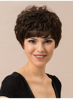 Short Layered Cut Natural Straight Human Hair Capless Wigs 8 Inches