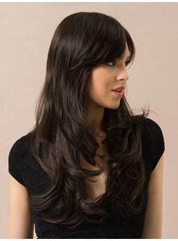 Long Wavy Human Hair Blend Wigs With Bangs 24 Inches
