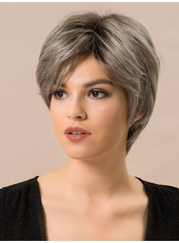 Short Choppy Layered Straight Human Hair Blend Wigs Inches