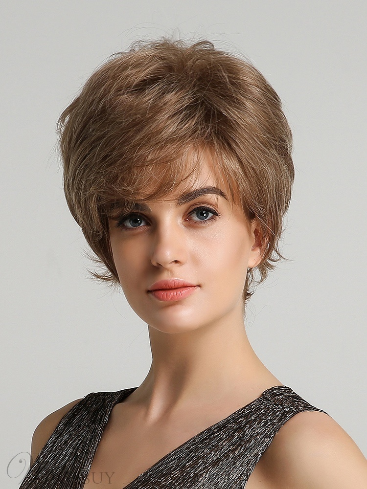 Short Cut Layler Straight Human Hair Blend Women Wig 8 Inces