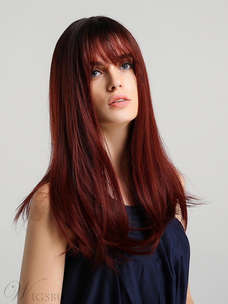 Long Colored Synthetic Straight Hair With Bangs Wig 20 Inches