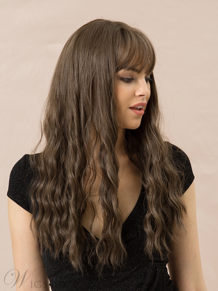Long Wavy Synthetic Hair With Bangs 130% Density 26Inches Wigs