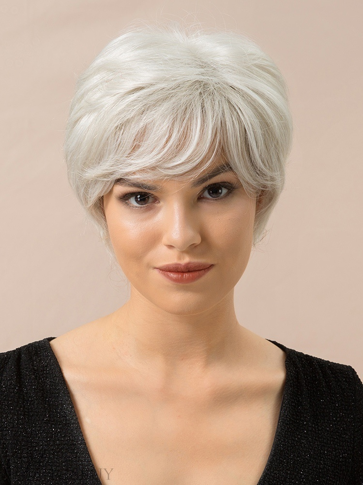 Short Choppy Layered Natural Straight Human Hair Blend Wigs 8 Inches