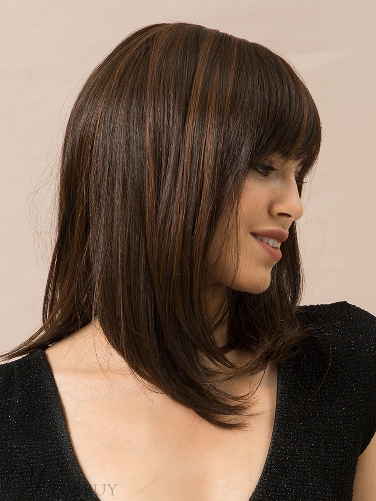 Long Bob Straight Human Hair Blend Wigs With Bangs 14Inches