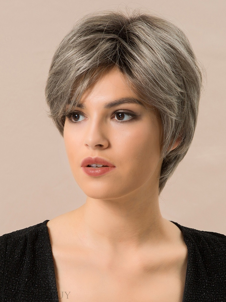 Short Choppy Layered Straight Human Hair Blend Wigs Inches: Wigsbuy.com