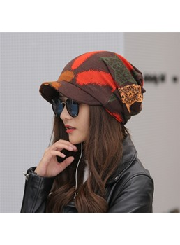 Women's Short Brim Autumn Printing Cap