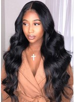 High Density Women's Long Length Body Wave 100% Human Hair Lace Front Cap Wigs 26Inches