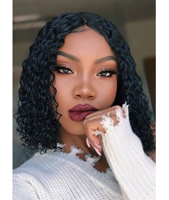 Women's Medium Bob Hairstyles 100% Virgin Human Hair Curly Lace Front Wigs 14Inches