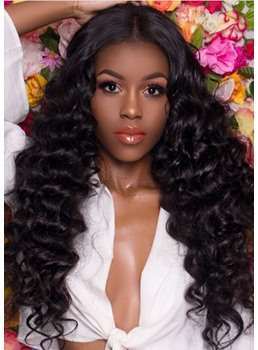 High Density Women's Deep Wave 100% Virgin Human Hair Wigs Lace Front Wigs 24Inches