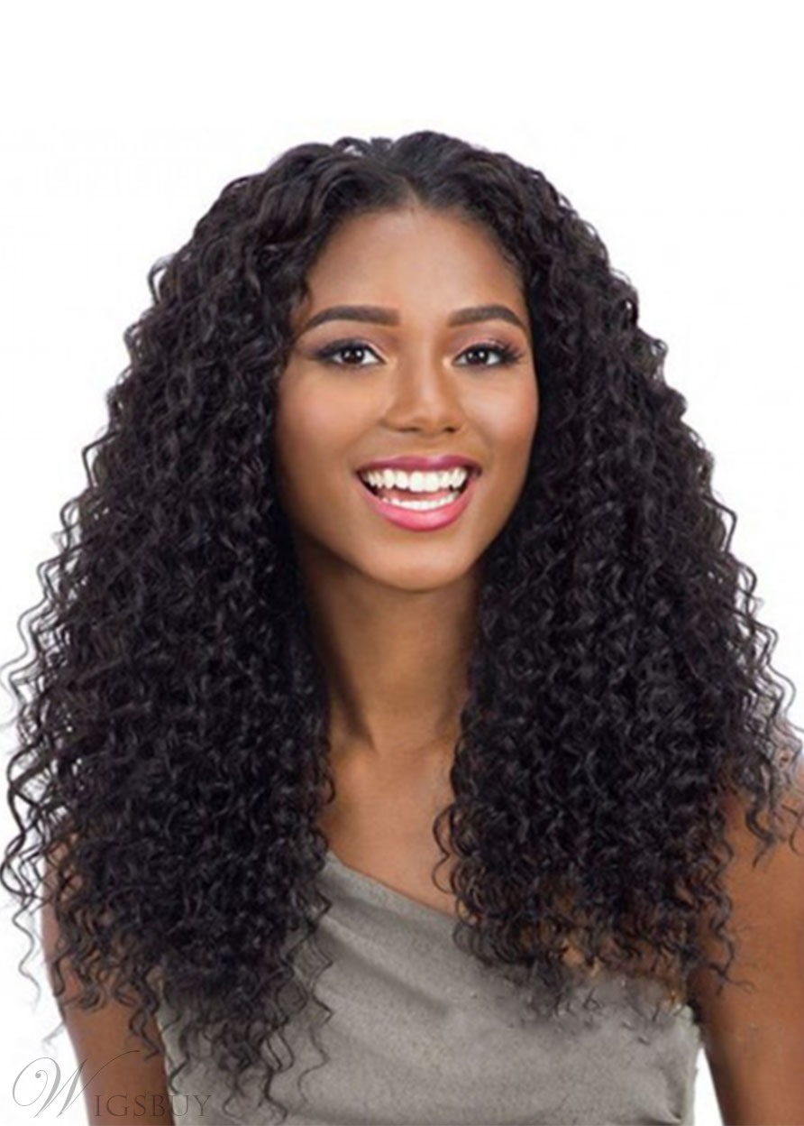 100% Virgin Human Hair Women's Kinky Curly Wigs Long Length Lace Front Wigs 22Inches