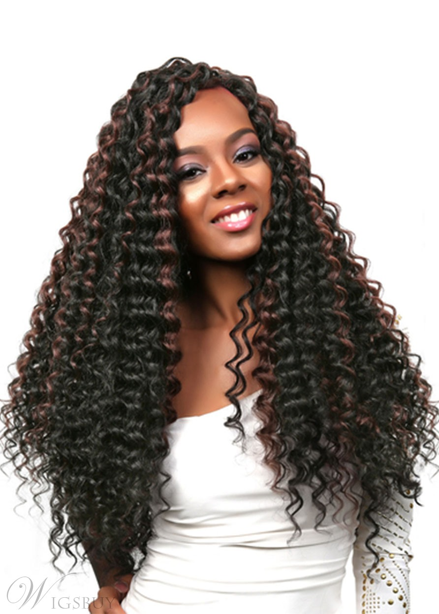 Women's Long Length 100% Virgin Human Hair Wigs Kinky Curly Lace Front Wigs 26Inches