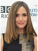 Light Brown Color Women's Natural Straight Medium Synthetic Hair Capless Wigs 18Inches