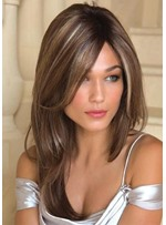 Brown Color Women's Natural Straight Long Hairsytle Synthetic Hair Capless Wigs 24Inches