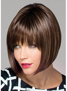 Women's Dark Brown Medium Bob Hairstyles Straight Synthetic Hair Lace Front Wigs 14Inches