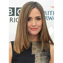 Light Brown Color Womens Natural Straight Medium Synthetic Hair Capless Wigs 18Inches