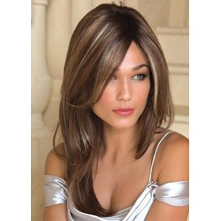 Brown Color Womens Natural Straight Long Hairsytle Synthetic Hair Capless Wigs 24Inches