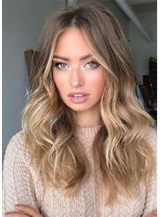 Women's Ombre Brown to Blonde Lace Front Wavy Synthetic Hair Wigs with Baby Hair 120% Density 24 Inches