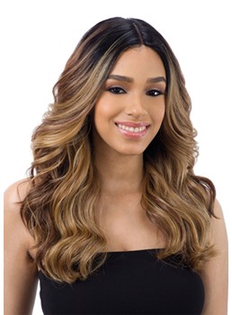 Women's Natural Black To Brown TB1/27 Ombre Color Body Wave Synthetic Hair Capless Wigs 24Inchs