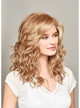 Medium Hairstyle Women's Blonde Color 100% Human Hair Wigs Lace Front Cap Wigs 20Inches