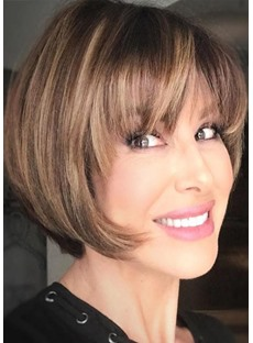 Short Bob Hairstyles Women's Straight Natural Looking Synthetic Hair Capless Wigs 12Inches