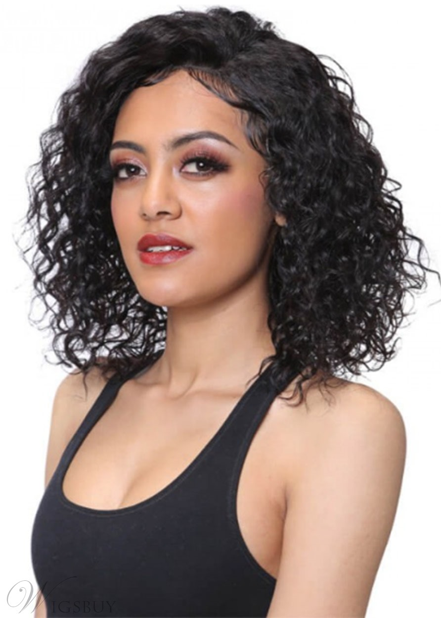 Medium Hairstyles Sexy Women's Kinky Curly Synthetic Hair Capless Wigs 16Inches