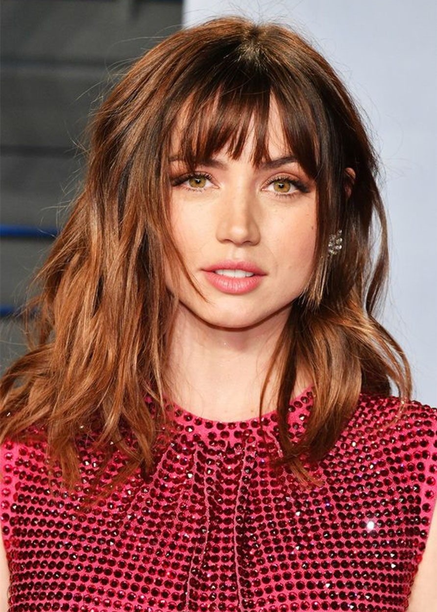 Women's Brown Color Natural Looking Straight Human Hair Wigs With Bangs Lace Front Wig 18Inches