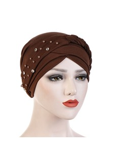 Beads Pure Colour Turban For Women