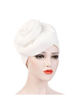 Plicated Flowers Fashion Pure Colour Turban