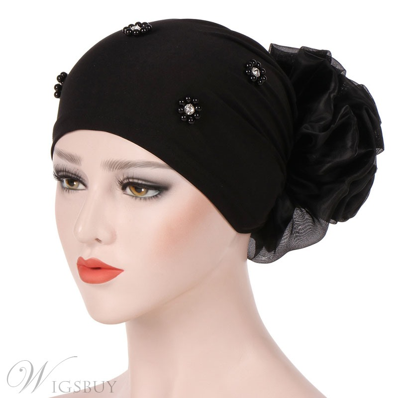 Colour Simple Flower Beads Turban For Women
