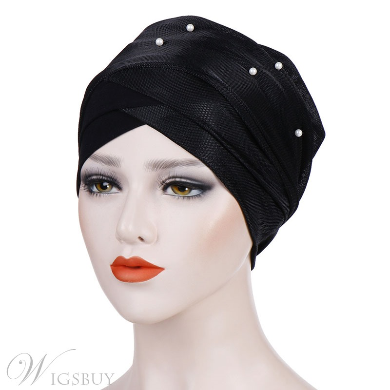 Pure Colour Beads Cross Turban For Women