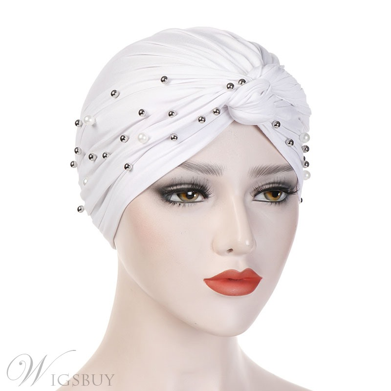 Colour Simple Beads Turban For Women