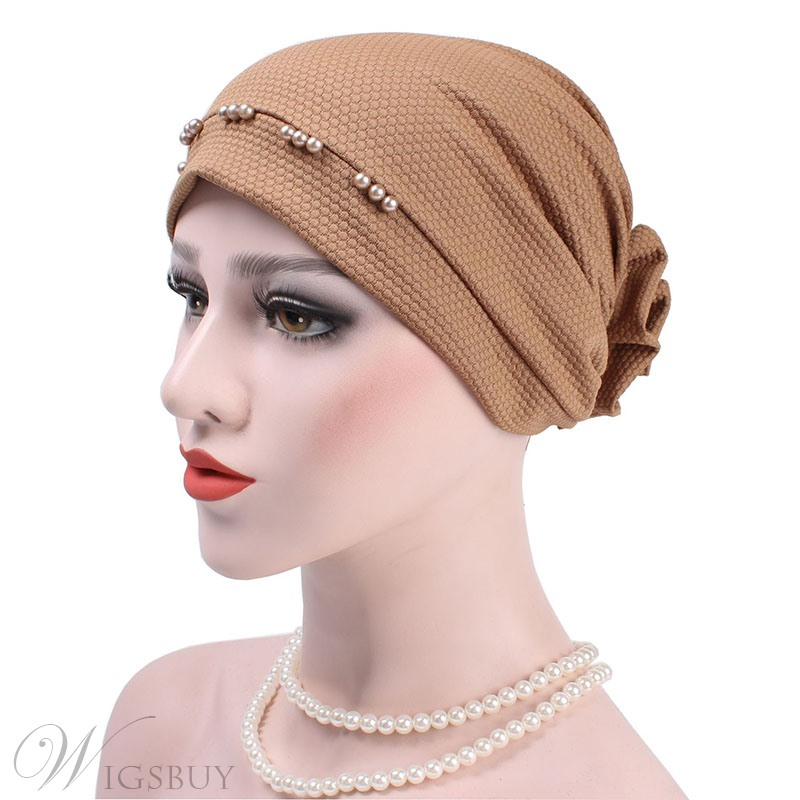 Pure Colour Beads Turban For Women