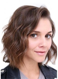 Short Bob Hairstyle Wavy Human Hair Wig 12 Inches