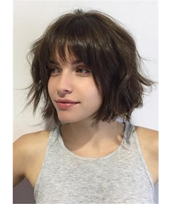 Short Messy Brunette Bob Human Hair Wavy Wigs With Bangs 10 Inches