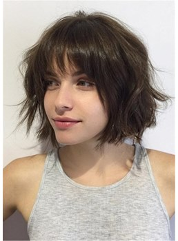Women's Short Messy Brunette Bob Wavy Human Hair Capless Wigs With Bangs 10 Inches