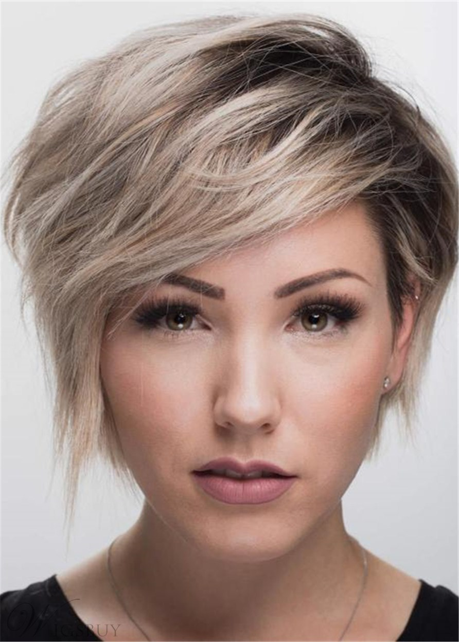 Pixie Cut Side Part Human Hair Wavy Wig 10 Inches