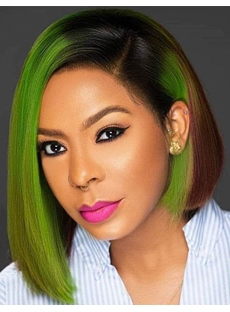 Short Bob Mix Color Synthetic Hair Straight Women Wig 12 Inches