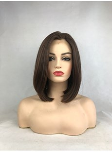 Medium Bob Hairstyle Hair Straight Lace Front Wig 14 Inches