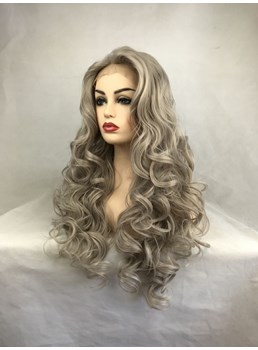 Long Grey Curly Synthetic Hair Lace Front Wig 32 Inches