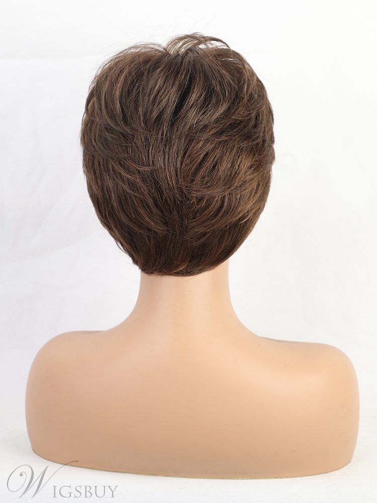 Short Choppy Layered Synthetic Lace Front Cap Wigs 8 Inches