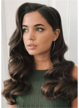 Long Wavy Human Hair Women Wig 22 Inches