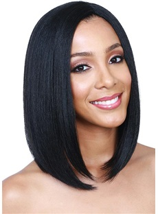 Medium Bob Hairstyle Natural Straight Synthetic Hair Wig 14Inches