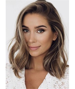 Medium Length Human Hairstyle Side Part Wavy Wig 16 Inches