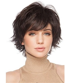 Cute Short Hairstyle Human Natural Straight Women Wig 10 Inches