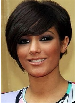 African American Short Hair Cut Synthetic Hair Natural Straight Women Wig 10 Inches