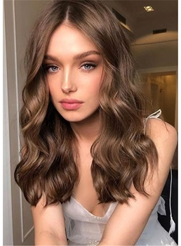 Long Middle Part Human Hair Wavy Women Wig 20 Inches