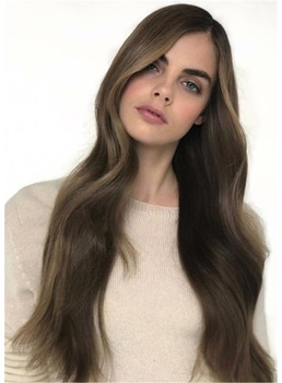 Long Side Part Human Hair Wavy Women Wigs 120% Density 28 Inches