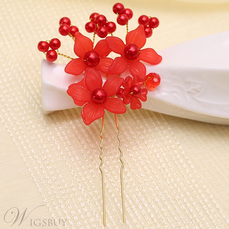 Korean Style Metal Rhinestone Hair Chopsticks Flowers Hair Stick Hairpin Chignon Pin for Wedding