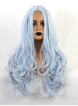 Blue Color Long Wavy Synthetic Hair Cosplay Wig 24 Inches